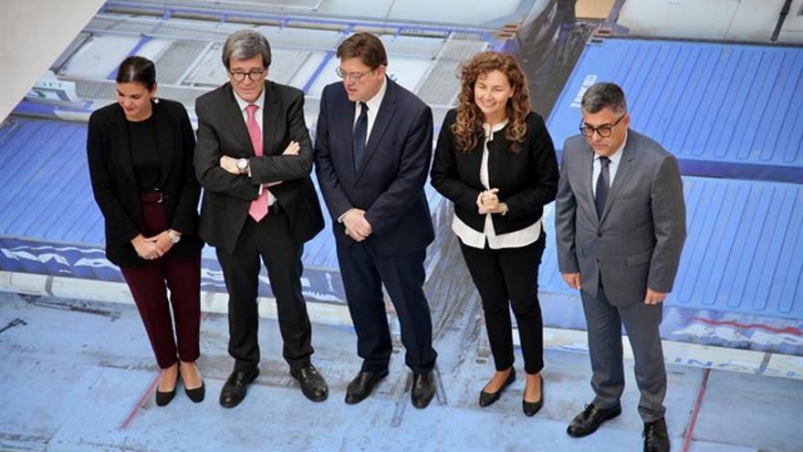 Sandra Gómez (izquierda), Aurelio Martínez, Ximo Puig, Ornella Chacón y Juan Carlos Fulgencio