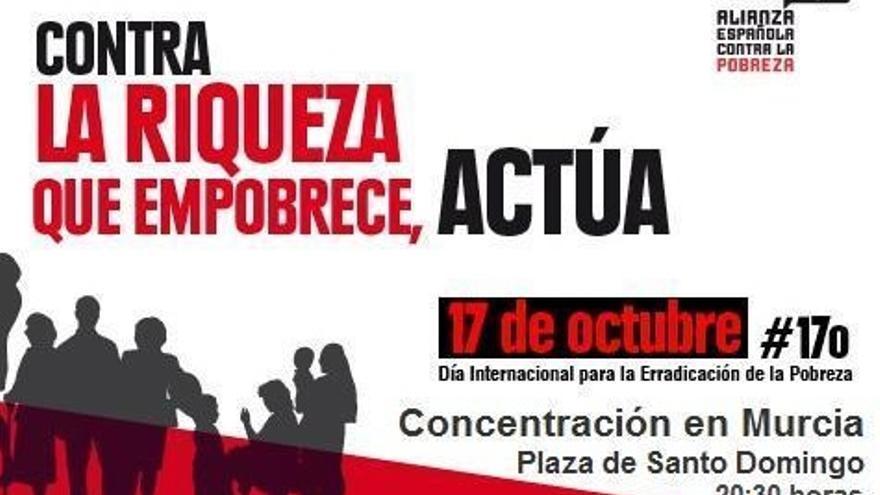 Cartel del acto convocado en la ciudad de Murcia contra la pobreza