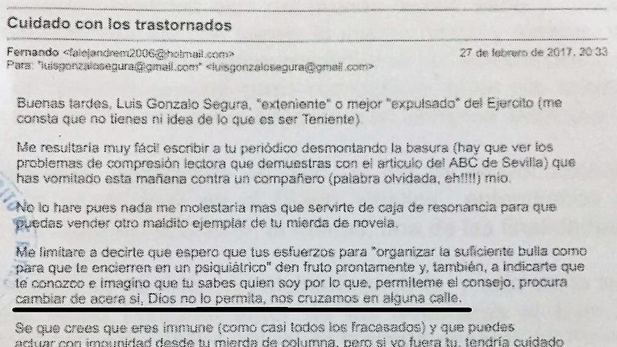 Extracto del mail recibido por el exteniente, y denunciado ante la Policía Nacional.