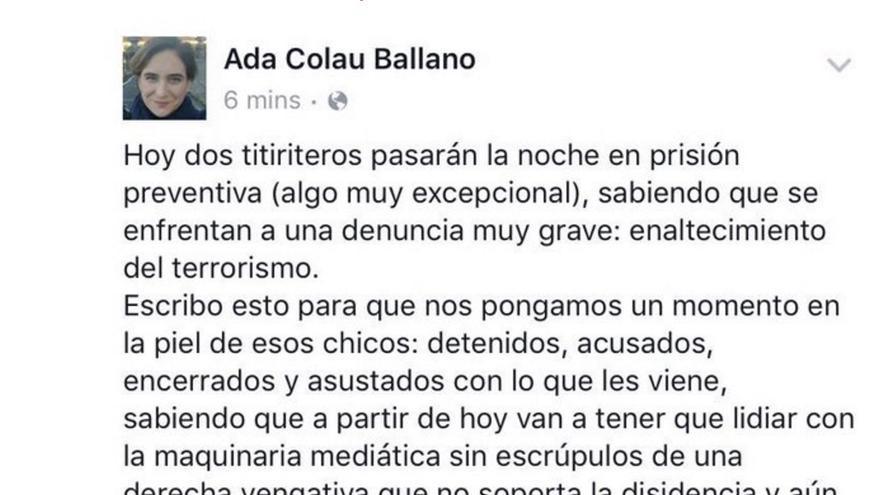 Tuit de Ada Colau sobre la detención de los titiriteros en Madrid.