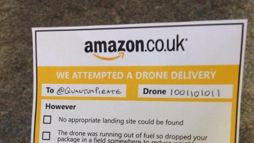 Problemas con la entrega por drone. Parodia cortesía de @QuantumPirate.