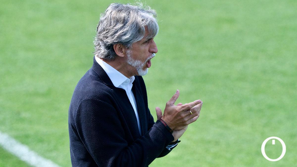Pablo Alfaro, durante el duelo con el Cádiz B.