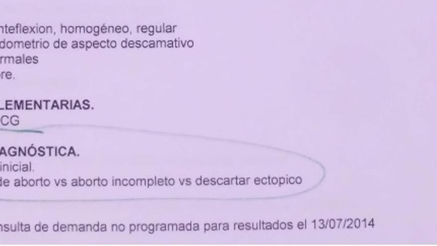 Extracto del informe médico de Milagros, correspondiente al sábado 13 de julio, antes del aborto.