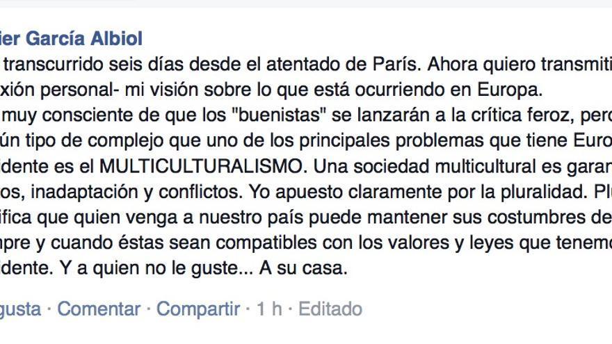 Mensaje de García Albiol en Facebook