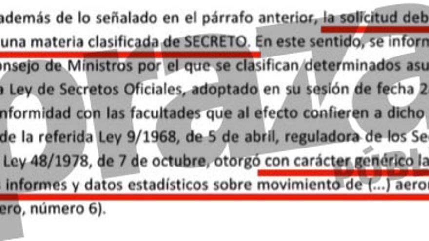 Respuesta de Defensa calificando de secretos los vuelos oficiales