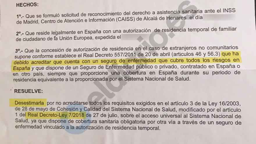 Extracto de la resolución del Instituto Nacional de Seguridad Social (INSS), dependiente del Ministerio de Trabajo, en la que deniega el acceso a la sanidad de Juan.