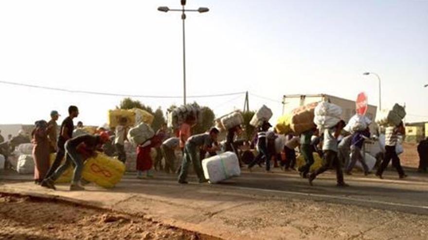Jornada de transporte de mercancías en la frontera, Melilla