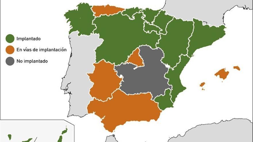 Mapa de implantación por comunidades del programa de cribado de cáncer de colon
