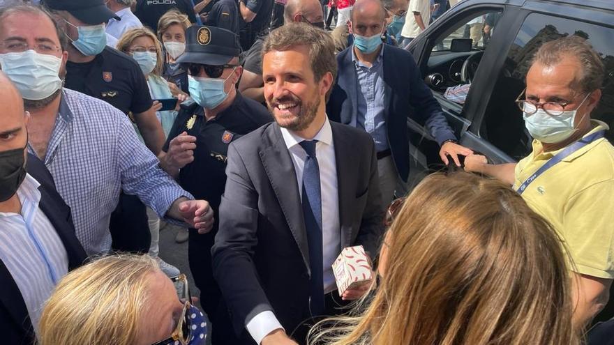 El presidente del PP, Pablo Casado, a la salida de la Convención del PP