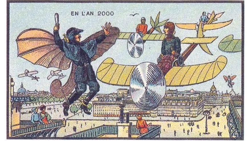 Una estampa de Jean Marc Coté dibujada a finales del siglo XIX, que muestra cómo será el futuro