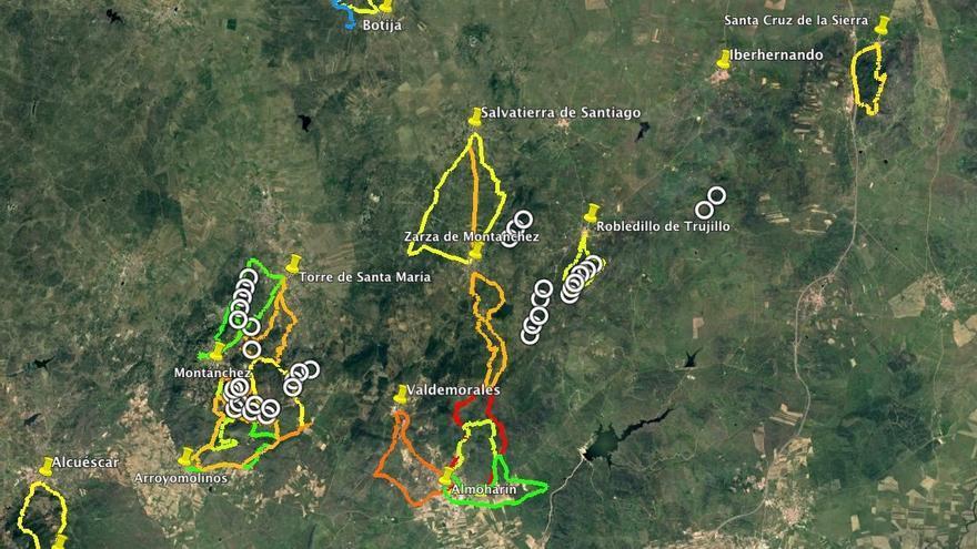 Montánchez mapa molinos rutas senderistas