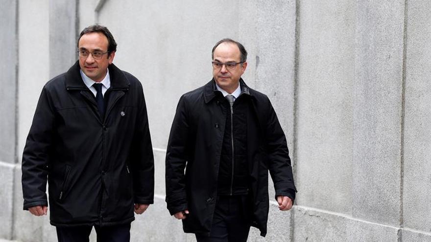 Los exconsellers Josep Rull y Jordi Turull, a su llegada al Supremo