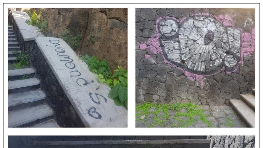 Varias imágenes del estado de las escaleras de acceso a la zona de La Portada. (Cedidas por el PP)