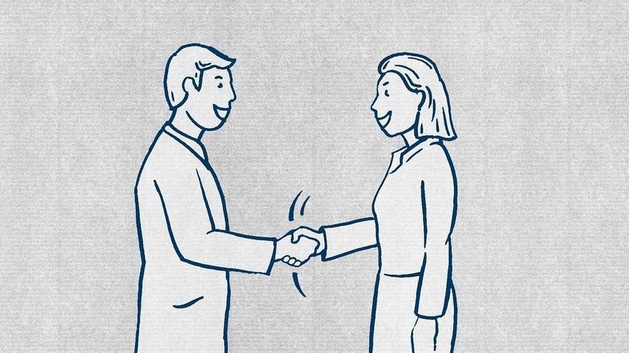 Guía para refugiados: los alemanes se dan la mano.