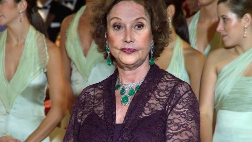Carmen Franco en la boda de su nieto Luis Alfonso de Borbón, en la que llevó algunas de las joyas que salen a subasta.