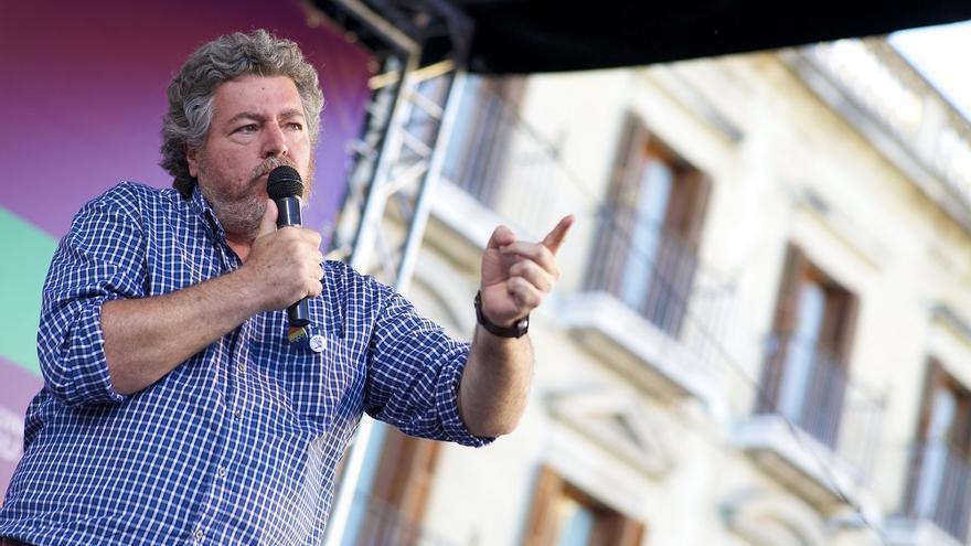 Juantxo López Uralde, durante un acto electoral de Unidas Podemos.
