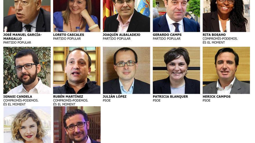 Los 12 diputados en el congreso por la provincia de Alicante