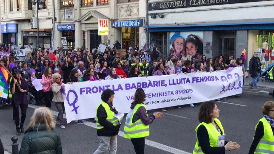La cabecera de la manifestación del 8M en Valencia