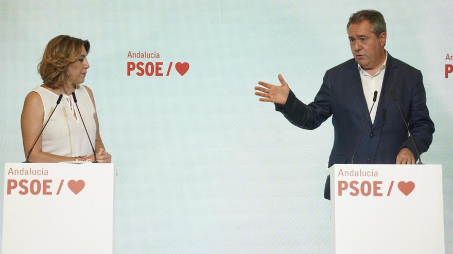 Rueda de prensa conjunta de la secretaria general del PSOE-A, Susana Díaz, y el candidato del PSOE-A a la Presidencia de la Junta, Juan Espadas, en la sede regional del partido