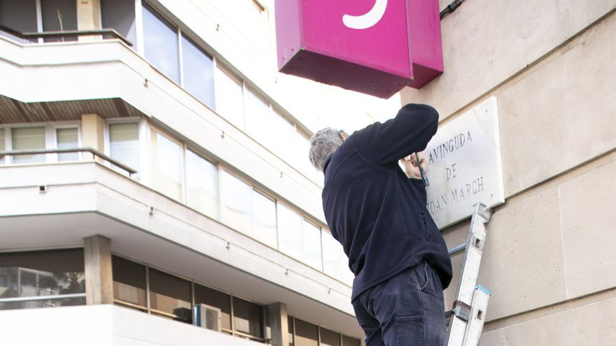 Cambio de nombre de la avenida Joan March, el pasado martes, en Palma.