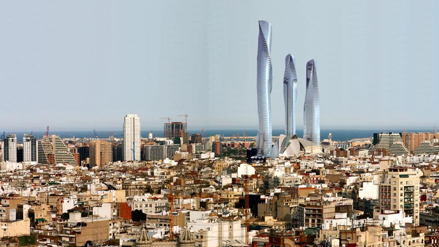 Una proyección de cómo hubiera quedado el paisaje de la ciudad de Valencia con las tres torres Calatrava