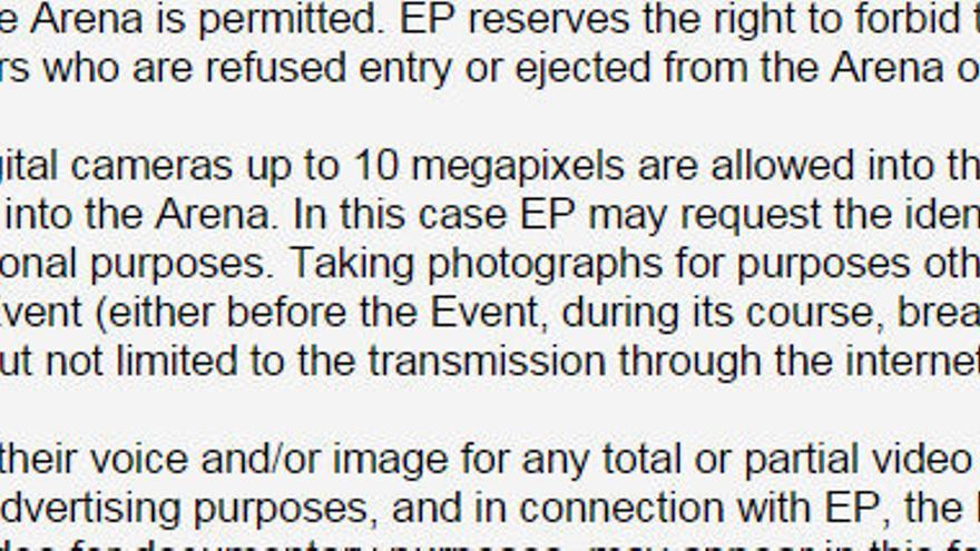 Ejemplo de una cláusula de las condiciones de entrada de la 'Final Four' de la Euroliga de Baloncesto.