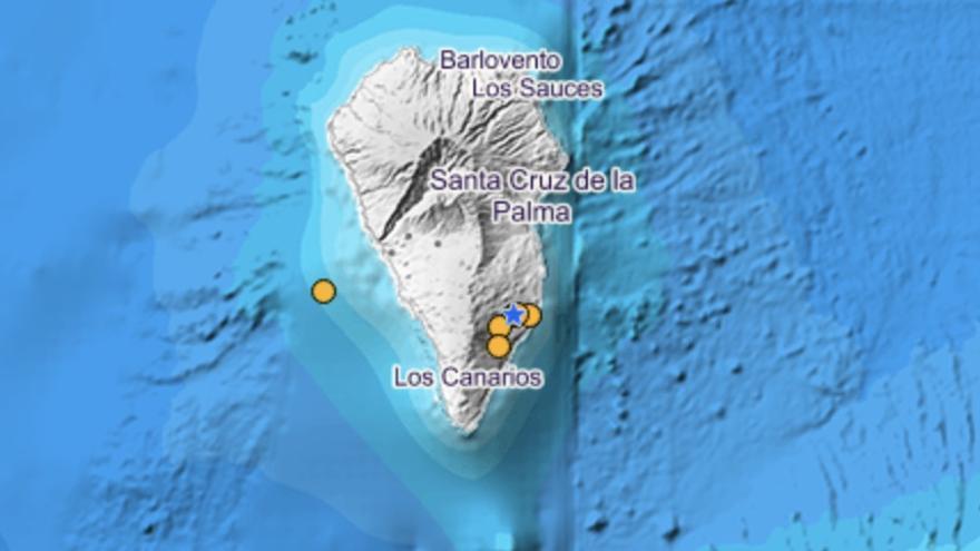 Imagen del IGN donde se localizan los últimos sismos registrados en la dorsal de Cumbre Vieja en la parte sur de La Palma.