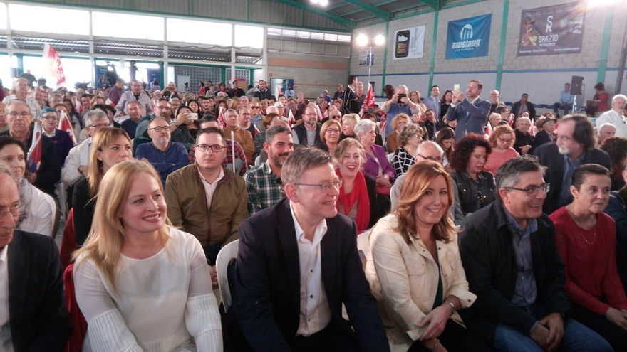Ximo Puig y Susana Díaz, en un acto de primarias del PSOE