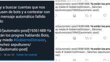 Algunos de los primeros mensajes de la cascada de spam