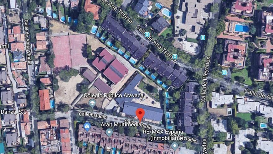 Vista aérea del Colegio Aravaca. / Google Maps
