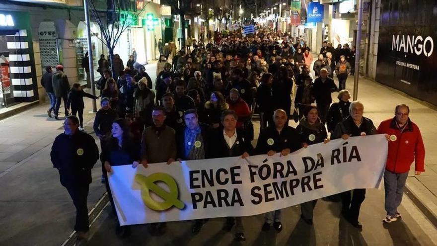 Cabecera de la manifestación anti ENCE