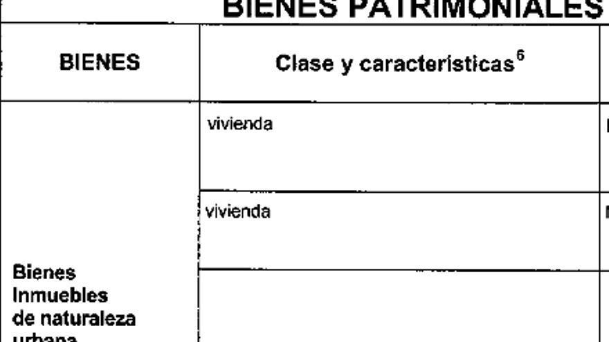 Detalle de la declaración de bienes patrimoniales de Ascensión de las Heras