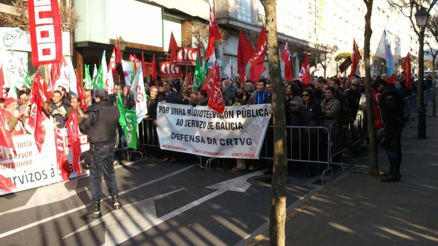 Protesta de los trabajadores de la CRTVG