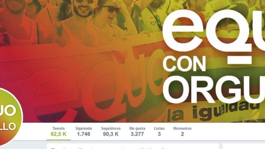 Página principal de la cuenta de Twitter de Equo.
