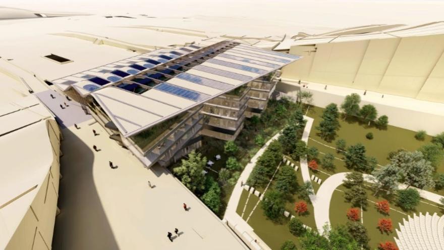 Recreación del nuevo edificio que se levantará en parte de los cimientos del nunca terminado Teatro de la Ciudad de la Cultura
