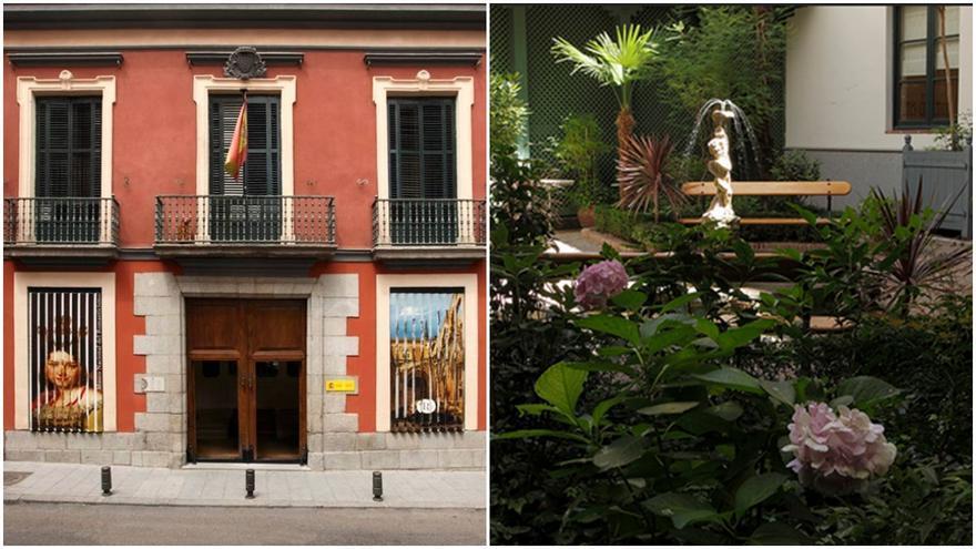 Entrada al Museo del Romanticismo (calle San Mateo 13) y jardín interior del palacete en el que se ubica | SOMOS MALASAÑA