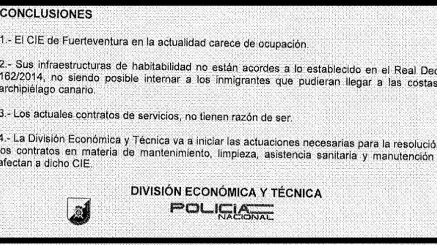 Conclusiones del responsable de Logística de la Policía Nacional sobre el CIE de Fuerteventura.