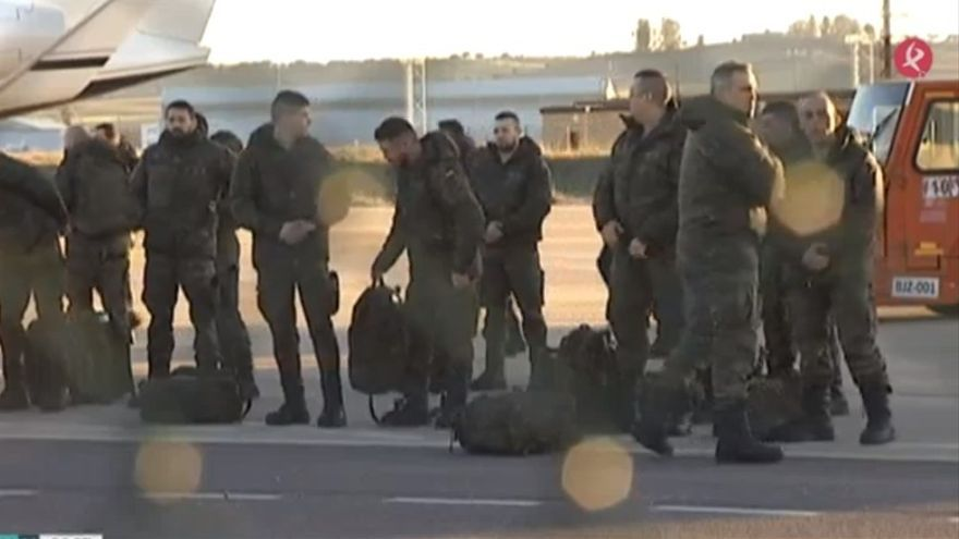 Llegada del contingente de soldados a Badajoz