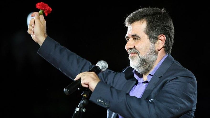 Jordi Sànchez, en un mítin previo al 1-O