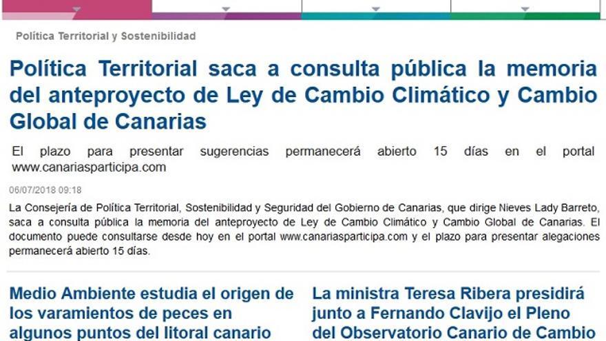 Página web de la Consejería de Política Territorial en la que este lunes seguía apareciendo la reunión con Teresa Ribera.