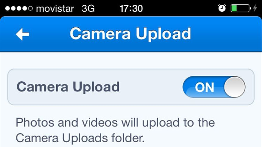 Opciones de copia en la nube de Dropbox en un iPhone
