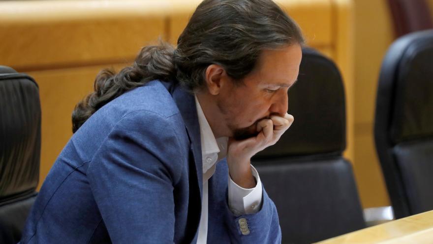 El secretario general de Podemos, Pablo Iglesias, durante una sesión en el Senado.