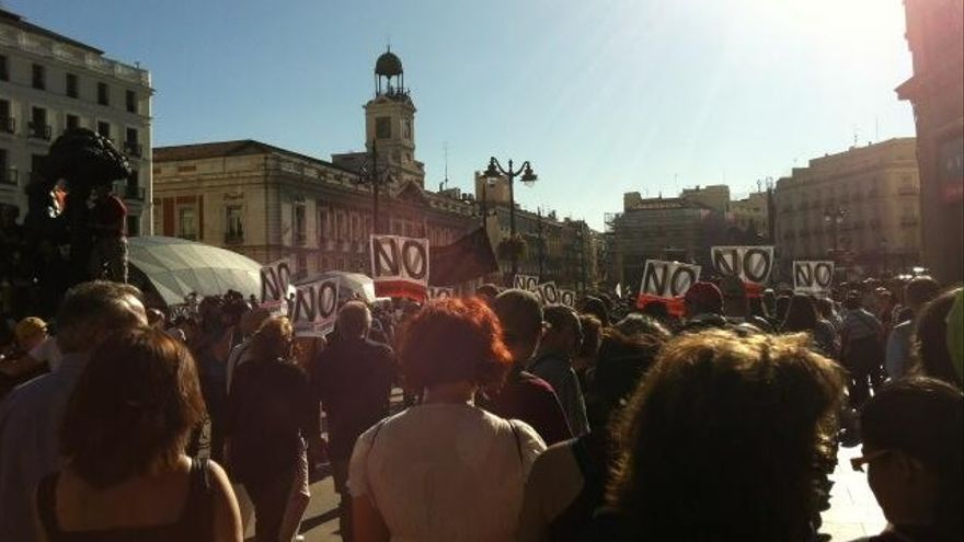 Primero manifestantes en Sol