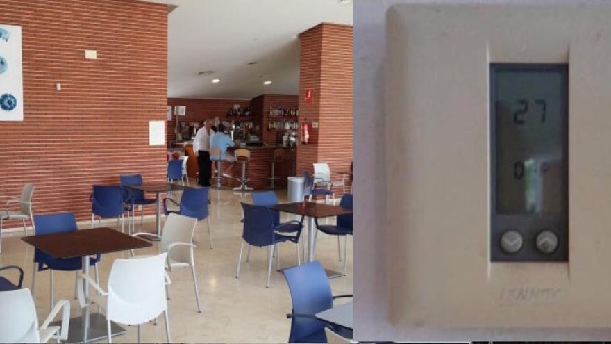 A la izquierda, imagen de archivo del interior del centro cívico. A la derecha, la temperatura que marcaba el pasado domingo