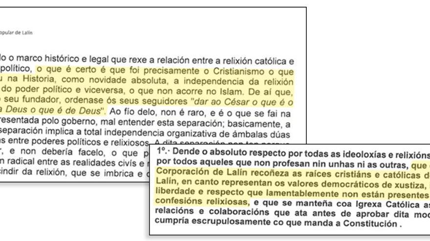 Fragmentos de la moción registrada por el PP de Lalín