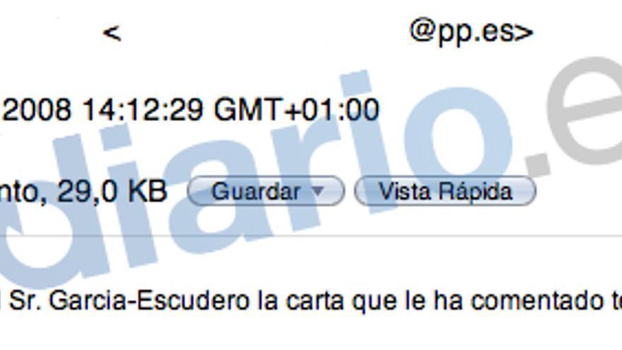 Una empleada del PP envía a Blesa una carta de Pío García Escudero sobre su hermano