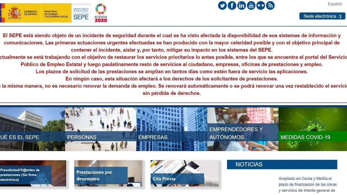 Página web del SEPE.