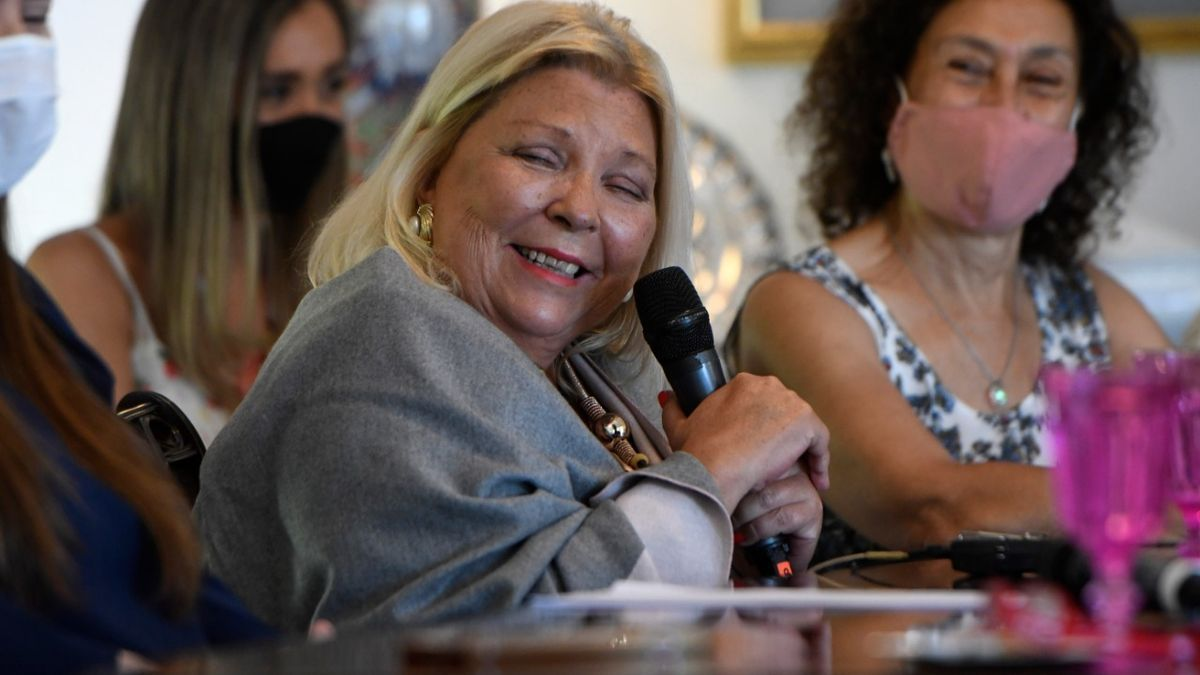 Elisa Carrió durante la presentación de un libro sobre su labor legislativa el 8 de diciembre de 2020.