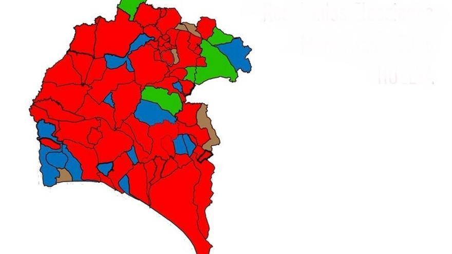 El nuevo mapa electoral de Huelva, con PSOE (rojo), PP (azul), IU (verde) y el resto, independientes. (Huelva24.com)