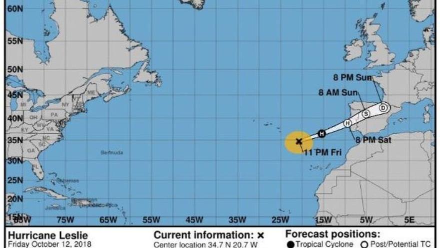 Leslie entrará mañana entre Zamora y Cáceres con vientos de 100 km/h